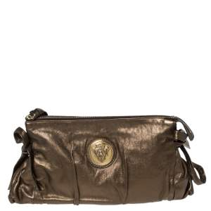 Gucci Metallic Olive Green Leather Hysteria Clutch