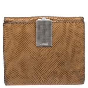 Gucci Light Brown Karung Snakeskin Vintage Clip Compact Wallet