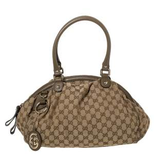 Gucci Beige/Olive Green GG Canvas and Leather Medium Sukey Boston Bag