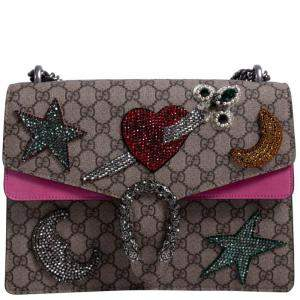 Gucci Beige/Ebony GG Supreme Coated Canvas Embroidered Medium Dionysus Shoulder Bag