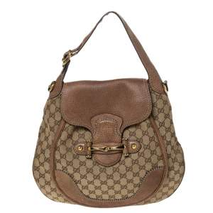 Gucci Beige/Brown GG Canvas and Leather Large New Pelham Horsebit Shoulder Bag
