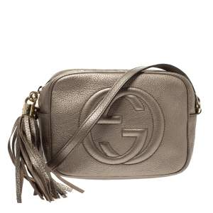Gucci Metallic Gold Leather Soho Disco Crossbody Bag