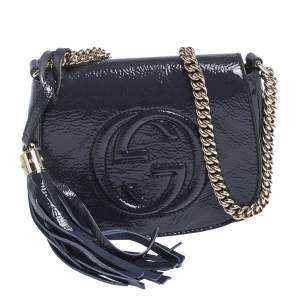 Gucci Midnight Blue Patent Leather Soho Flap Chain Crossbody Bag