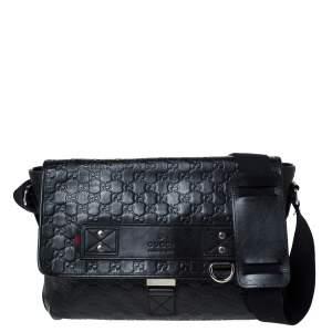 Gucci Black Guccissima Leather Medium Rubber Messenger Bag