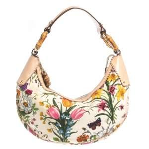 """حقيبة غوتشي """"هوبو"""" بحلقة بامبو جلد و كانفاس مطبوع مورد بوتانيكال متعدد الألوان"""