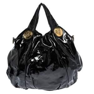 Gucci Black Patent Leather Hysteria Top Handle Tote Bag