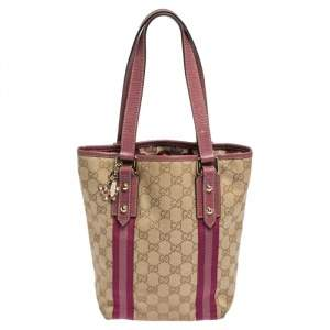 Gucci Beige/Pink GG Canvas and Leather Jolicoeur Tote
