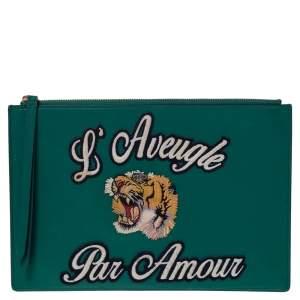 Gucci Green Leather L'Aveugle Par Amour Pouch
