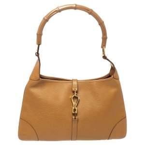 Gucci Light Brown Leather Jackie O Shoulder Bag
