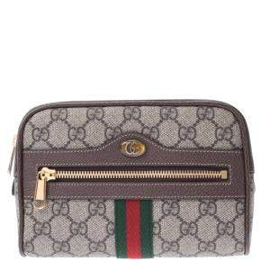 Gucci Grey Ophidia GG Supreme Canvas Small Belt Bag