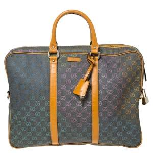 Gucci Grey/Tan GG Supreme Canvas and Leather Briefcase
