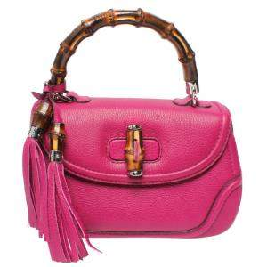 Gucci Pink Leather New Bamboo Top Handle Bag