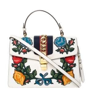 حقيبة غوتشي يد علوية سيلفي متوسطة جلد مطرزة زهور كريمية