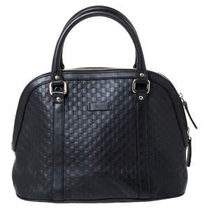 Gucci Black Microguccissima Leather Medium Dome Bag