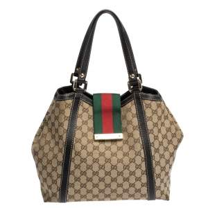 Gucci Beige/Dark Brown GG Canvas and Leather New Ladies Web Tote