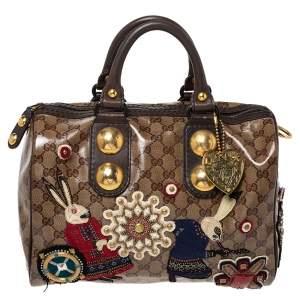 Gucci Brown GG Crystal Canvas Babouska Fable Boston Bag