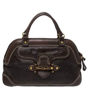 Gucci Dark Brown Guccissima Leather New Pelham Satchel