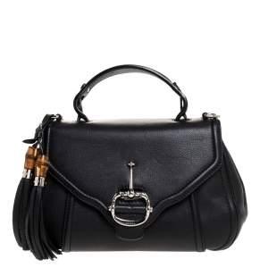 Gucci Black Leather Techno Horsebit Top Handle Bag