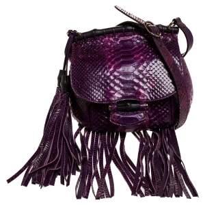 Gucci Purple Python Fringe Bamboo Shoulder Bag