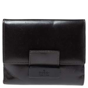 Gucci Dark Brown Leather Compact Wallet