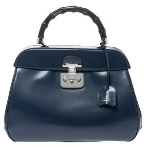 Gucci Blue Patent Leather Lady Lock Bamboo Large Top Handle Bag