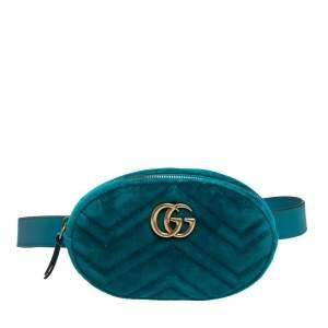 Gucci Turquoise Matelasse Velvet GG Marmont Belt Bag