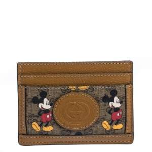 Gucci x Disney Brown GG Supreme Canvas and Leather Mickey Card Holder