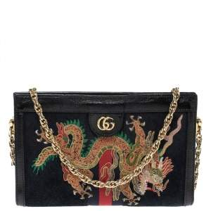 Gucci Black Suede and Leather Ophidia Dragon Bag