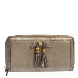 Gucci Gold Leather Bamboo Tassel Bow Zip Around Wallet