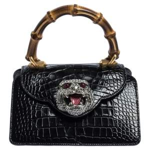 Gucci Black Shine Alligator Mini Thiara Bamboo Top Handle Bag