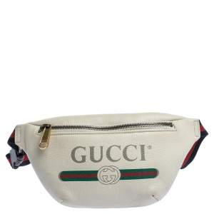 Gucci Cream Leather Logo Belt Bag