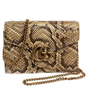 Gucci Cream Python GG Marmont Wallet on Chain
