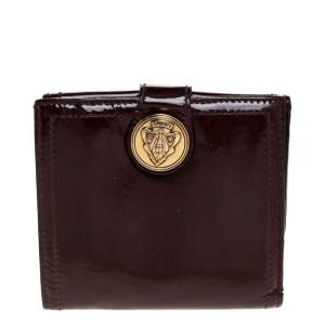 Gucci Maroon Patent Leather Hysteria French Wallet
