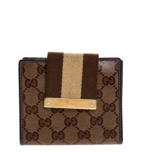 Gucci Beige/Brown GG Crystal Canvas Web Flap French Wallet