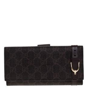 Gucci Dark Brown GG Supreme Canvas and Leather Nice Continental Wallet