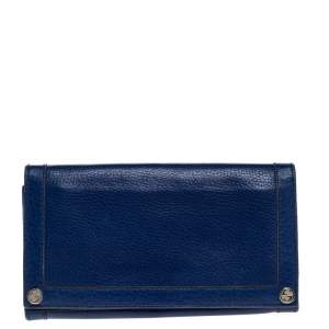 Gucci Royal Blue Leather Flap Continental Wallet