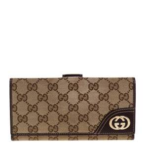 Gucci Brown/Beige GG Canvas and Leather Britt Continental Wallet