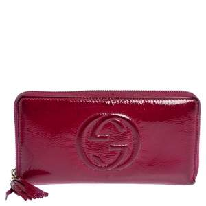 Gucci Fuchsia Patent Leather Soho Zip Around Wallet