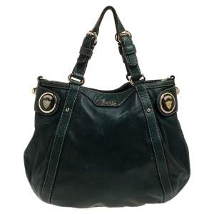 Gucci Green Leather Crest Boule Hobo