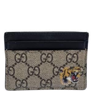 Gucci Beige/Black GG Supreme Canvas Tiger Card Holder