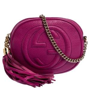 Gucci Fuchsia Leather Mini Soho Disco Chain Crossbody Bag