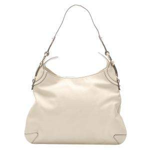 Gucci White Horsebit Leather Creole Hobo Bag