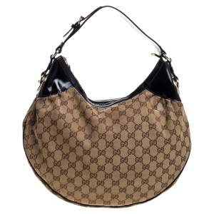 Gucci Beige/Black GG Canvas and Patent Leather Medium Full Moon Hobo