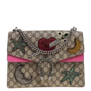 Gucci Pink/Beige GG Supreme Canvas and Suede Medium Crsytal Embellished Dionysus Shoulder Bag