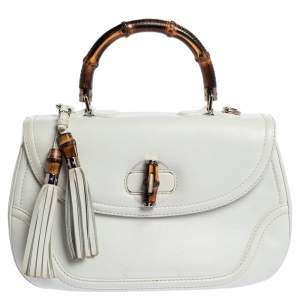 Gucci White Leather Large New Bamboo Tassel Top Handle Bag