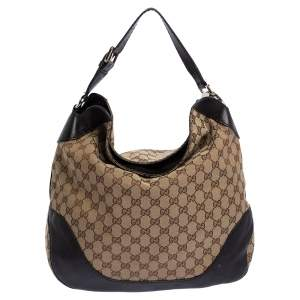 Gucci Beige/Brown GG Canvas and Leather Medium Charlotte Hobo