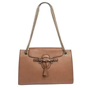 Gucci Beige Leather Large Emily Chain Shoulder Bag