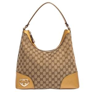 Gucci Beige/Gold GG Canvas and Leather Medium Lovely Hobo