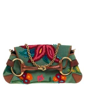 Gucci Multicolor Embroidered Fabric and Lizard Horsebit Chain Clutch