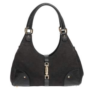 Gucci Black GG Canvas and Leather Bardot Bag